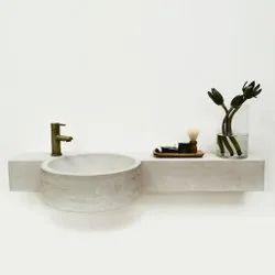 Single Rectangular Designer Table Top Concrete Wash Basin, For Bathroom