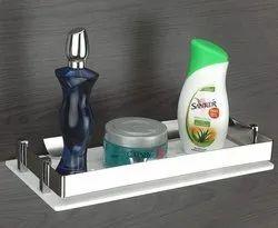 Acrylic Multi-Purpose Wall Mount Shelf Rack Kitchen and Bathroom Accessories (5X10-inch)