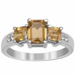925 Sterling Silver Citrine Gemstone Three Stone Bridesmaid Wedding Ring