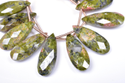 Natural Unakite Jasper Pear Beads