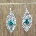 925 Sterling Silver Round Shape Jewelry Natural Malachite Gemstone Earring We-6034