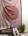 Mandala Orange Floral Printed Decorative Wall Hanging Tapestry