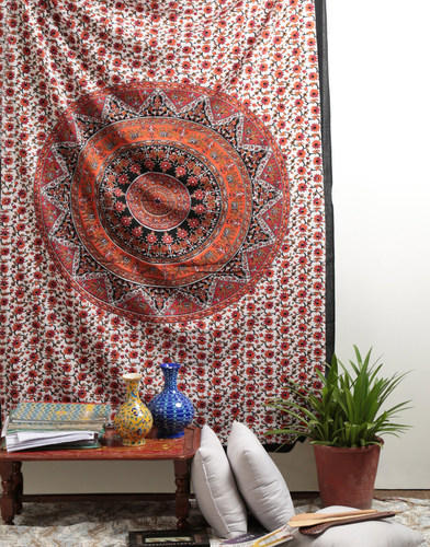 Cotton Mandala Orange Floral Printed Decorative Wall Hanging Tapestry