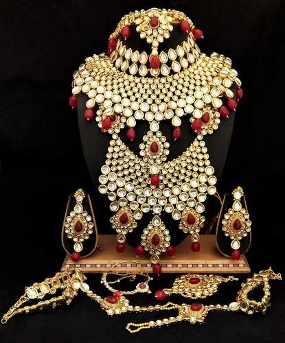 2363b4afa Copper Red Bridal Kundan Jewelry Set