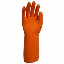 Washable Orange Natural Rubber Hand Gloves, For Industrial Use, Size: Small, Medium and Large