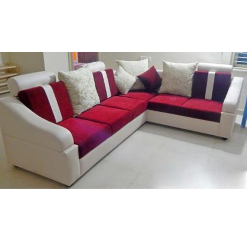 6 Seater Red And White L Shape Sofa Set