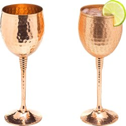 9.5oz Hand Hammered Solid Copper Goblets