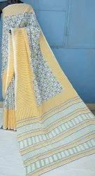 Natural Bagru Hand Block Printed Cotton Saree.
