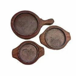 THS Brown Wooden Sizzler Plates, for Restaurant