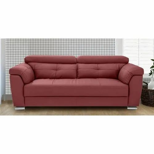 Red Wooden Designer Two Seater Sofa Rs