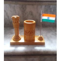Wooden Ashok Stambh And Pen Holder With Flag