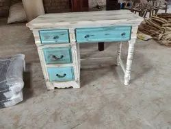 White Wood Antique Distressed Finished Study Table with Drawers