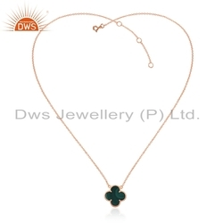 Rose Gold Plated Silver Clover Chain Pendant Necklace