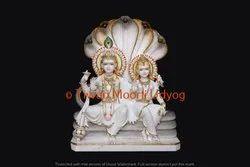 Laxmi Vishnu Statue In White Marble