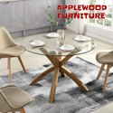 Applewood Round Glass Top Dining Table