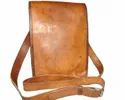 Brown Shoulder Long Flap Vertical Leather Bag