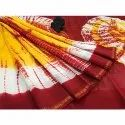Vastrang Red And Yellow Casual Printed Chanderi Saree With Blouse