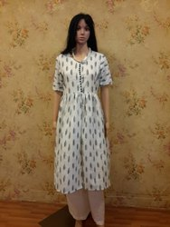 White Cotton Ikat Kurti