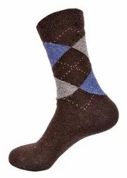 Men Brown Long Woolen Socks