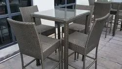 Grey 1 Table, 4 Chair Modern Cane Dining Table Set