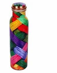 Multi Color Design Meena Print Copper Bottle