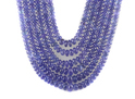 Tanzanite Smooth Plain Roundel 6 String Necklace