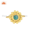 Natural Emerald Gemstone Yellow Gold Plated 925 Silver Ring Jewelry