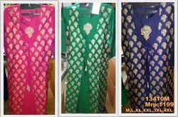 Knee Long Round Neck 13410 Silk Embrodiery Designer Kurta, Size: 38-50