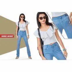 Miss Bebo Faded Ladies Skinny Fit Stretchable Jeans, Waist Size: 28-34 and also available in 36-40