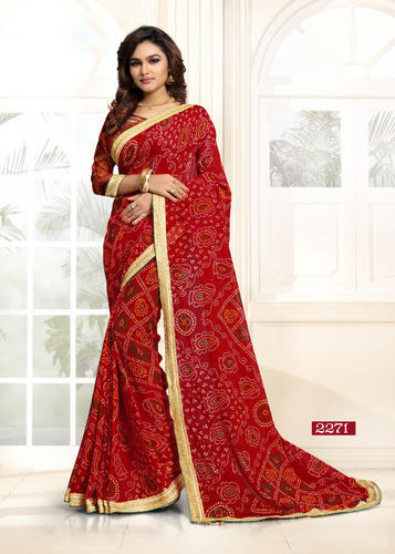 488cb3eb54 Red Weightless dani with latkan Special Navratri Printed Saree, 6.3 m (with  blouse piece