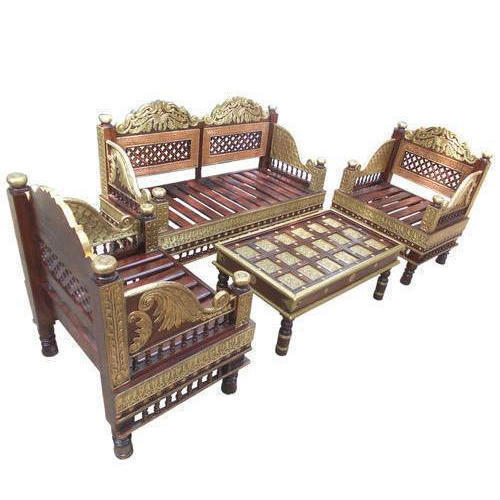 Vijay Handicraft Brown, Golden Wooden Antique Sofa Set