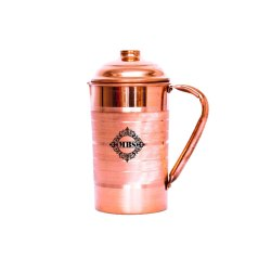 Cylindrical Silver-Touched MBS Pure Copper Jug (1500 Ml) for Home
