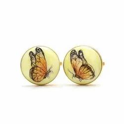 Hand Painted Butterfly 92.5 Sterling Silver And Enamel Cufflinks