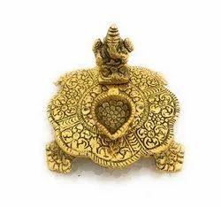 Bharat Handicrafts Gold Plated Ganesha Choki Statue with Deepam