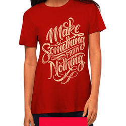 Cotton Round Red Ladies T Shirt