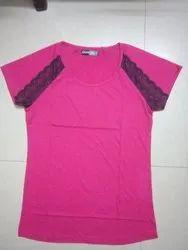 Cotton V-Neck Ladies Plain T-Shirt