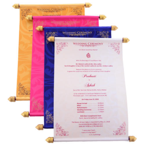 designer scroll wedding invitations cards shape rectangular