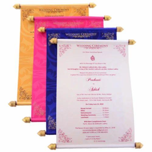 Trendy Wedding Invitation Cards: Fabric Rectangular Designer Scroll Wedding Invitations