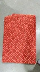 Printed Red Cotton Fabric, Block Print