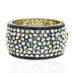 Mother Of Pearl and Turquoise Gemstone Bangle