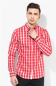 Men Cotton Blue Saint Red Checked Casual Shirt, Size: Slim