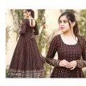 Party Wear Full Sleeve Ladies Printed Anarkali Rayon Kurti, Size: M-xxl, Wash Care: Handwash