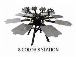 8 Color 8 Station T-Shirt Screen Printing Machine