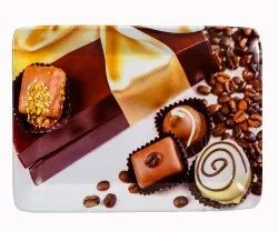 Mehul Melamine Coffee Chocolate Design Square Serving Tray, 3 Pcs