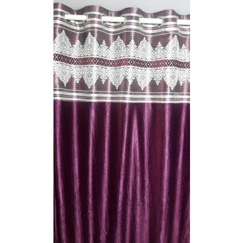 Purple Satin Designer Bordered Curtains For Door