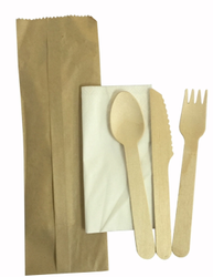 Take away wooden cutlery set