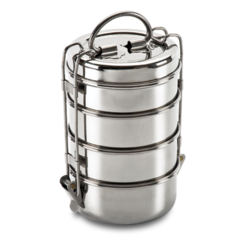 Amit 4 Tier Stainless Steel Tiffin, Packaging Type: Box
