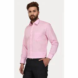 Mens Cotton Baby Pink Full Sleeves Shirt