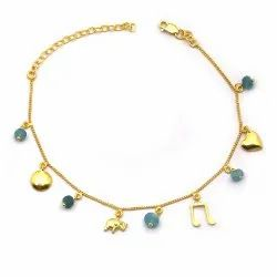 OE0632-02 925 Sterling Silver Gold Plated Anklet