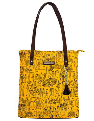 bbf632f01 Funk For Hire Yellow Bag with Brown Strap and Trims women mela printed  yellow cotton canvas